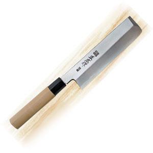 Нож для японской кухни (овощной) L 18см, рукоятка белое дерево
