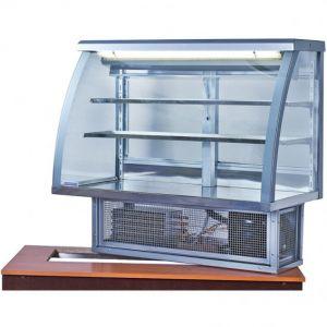 Витрина холодильная встраиваемая, горизонтальная, кондитерская, L1.01м, 2 полки, 0/+8С, стат.охл., серебристая, стекло фронтальное гнутое