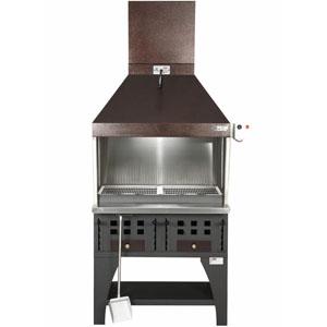 Гриль на углях, 2 решетки 450х420мм, подставка открытая, отделка коричневая, зольник, зонт вытяжной