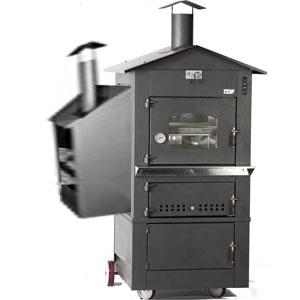Печь дровяная, 1 камера, под 0,49м2 камень сплошной, 2 уровня, термометр, корпус черный, дверь стекло, передвижная, ящик для золы, косв.нагрев, гриль