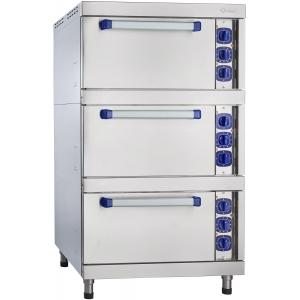 Шкаф электрический жарочный, 3 камеры, 12х(530х470мм), электромех.управление, корпус (лицевая часть) нерж.сталь, 380V, ножки