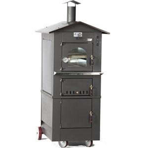 Печь дровяная, 1 камера, под 0,27м2 камень сплошной, 2 уровня, термометр, корпус черный, дверь стекло, передвижная, ящик для золы, косв.нагрев