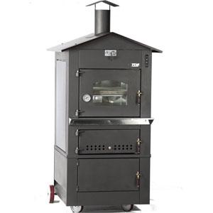 Печь дровяная, 1 камера, под 0,49м2 камень сплошной, 2 уровня, термометр, корпус черный, дверь стекло, передвижная, ящик для золы, косв.нагрев
