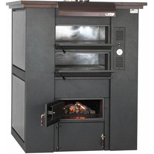 Печь дровяная, 2 камеры, под 1,68м2 камень сплошной, термометр, корпус черный, дверь стекло, ящик для золы, косв.нагрев