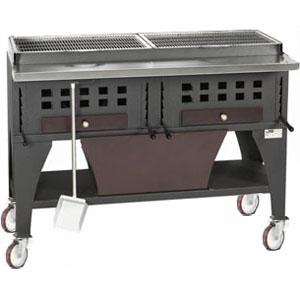 Гриль на углях, 2 решетки 720х420мм, подставка открытая, отделка коричневая, зольник, колеса