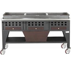 Гриль на углях, 3 решетки 630х420мм, подставка открытая, отделка коричневая, зольник, колеса