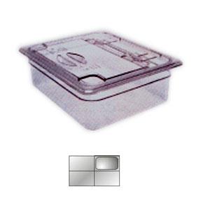 Крышка для гастроемкости GN1/4 с ручк. и вырезом, поликарбонат