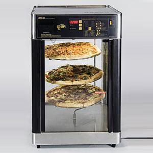 Витрина тепловая настольная, вертикальная, для пиццы, L0.54м, 3 полки, нерж.сталь, 1 дверь стекло, пароувлажнение