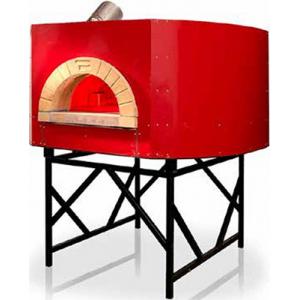 Печь дровяная, 1 камера, под 2.24м2 камень сегментированный, термометр, корпус красный, дверь сталь, подставка