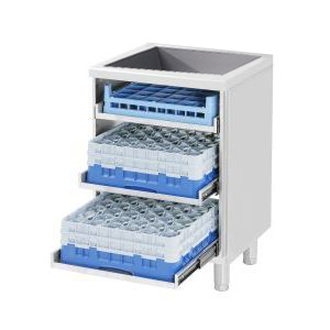 Модуль барный нейтральный для посудомоечных корзин,  600х550х860мм, без столешницы, полузакрытый без двери, ножки, нерж.сталь