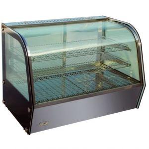 Витрина тепловая настольная, горизонтальная, L0.86м, 2 полки, +30/+90С, нерж.сталь, стекло фронтальное гнутое, подсветка, увлажнение