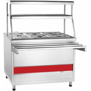 Мармит электрический для вторых блюд, L1.12м, 1GN1/1+2GN1/2+3GN1/3, нагрев паровой, стенд закрытый, нерж.сталь, 2 полки сплошные, направляющие