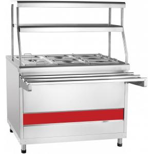 Мармит электрический для вторых блюд, L1.12м, 1GN1/1+2GN1/2+3GN1/3, нагрев сухой, стенд закрытый, нерж.сталь, 2 полки сплошные, направляющие