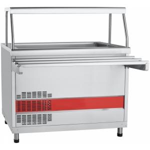 Прилавок холодильный, L1.12м, ванна охлаждаемая +1/+10С, стенд полузакрытый без двери, нерж.сталь, 1 полка сплошная, направляющие