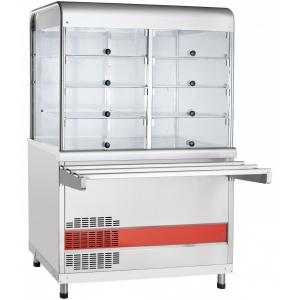 Прилавок-витрина холодильный, L1.12м, столешница охлаждаемая +5/+15С, стенд полузакрытый без двери, нерж.сталь, направляющие
