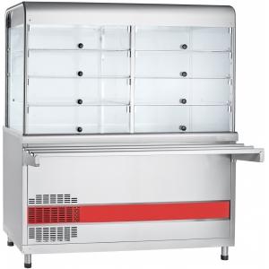 Прилавок-витрина холодильный, L1.50м, столешница охлаждаемая +5/+15С, стенд полузакрытый без двери, нерж.сталь, направляющие