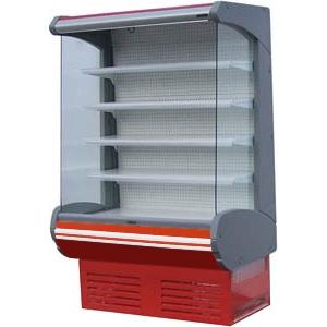 Стеллаж холодильный, пристенный, L1.30м, 4 полки, +2/+10С, дин.охл., белый+красный, фронт открытый, боковины стекло, ночная шторка