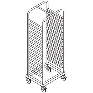Шпилька для GN1/1, 23 уровня, одинарная, открытая, нерж.сталь, колеса, гнутая, для камер шок.заморозки C20/40/42/82/83 и для шкафа MTP20E