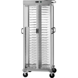 Тележка банкетная тепловая для тарелок D180-230мм,  88шт., закрытая, основание алюминий анодир., держатели рильсановые, 4 двери оргстекло