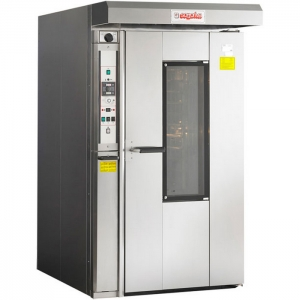 Печь электрическая конвекционно-ротационная, 1 тележка 18х(600х800мм), управление электронное, корпус нерж.сталь, увлажнение, зонт, 2 скорости вент.