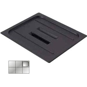 Крышка для гастроемкости GN1/6 с ручк., черный поликарбонат