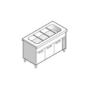 Прилавок раздаточный для вторых блюд, L1.50м, 4GN1/1, стенд закрытый, двери распашные, нерж.сталь, паровой