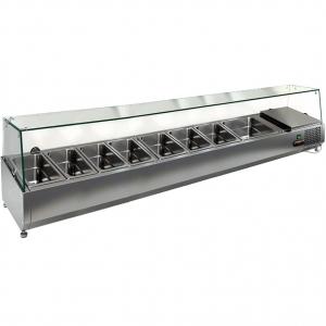 Витрина холодильная настольная, горизонтальная, для топпингов, L1.84м, 7GN1/3+1GN1/2, +2/+7С, стат.охл., верхняя структура стекло, ножки