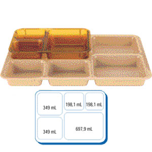 Поднос базовый L 35,6см w 26,8см h 3,3см для доставки питания, сопол
