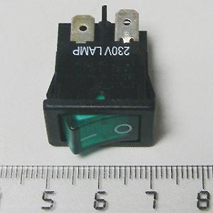 Выключатель зеленый с подсветкой