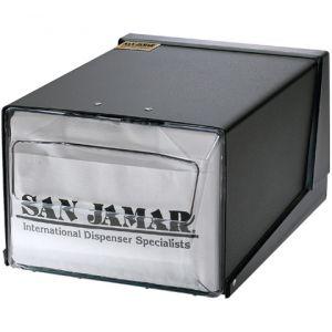 Диспенсер для салфеток на 300шт., настольный, прозрачная фронт.панель, чёрный корпус