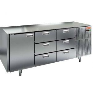Стол холодильный, GN1/1, L1.84м, без столешницы, 1 дверь глухая+6 ящиков, ножки, -2/+10С, нерж.сталь, дин.охл., агрегат справа