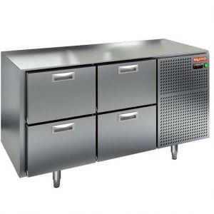 Стол холодильный, GN2/3, L1.39м, без столешницы, 4 ящика, ножки, -2/+10С, нерж.сталь, дин.охл., агрегат справа