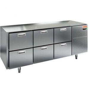 Стол холодильный, GN1/1, L1.84м, без столешницы, 6 ящиков, ножки, -2/+10С, нерж.сталь, дин.охл., агрегат справа
