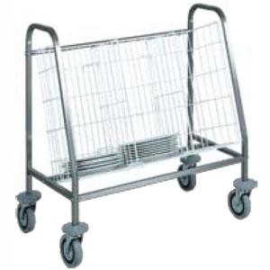 Тележка транспортировочная для тарелок, 100шт., каркас нерж.сталь, горизонтальное хранение