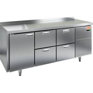 Стол морозильный, GN1/1, L1.84м, борт H50мм, 1 дверь глухая+4 ящика, ножки, -10/-18С, нерж.сталь, дин.охл., агрегат справа