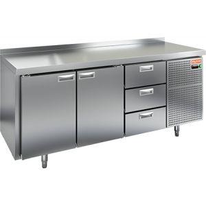 Стол морозильный, GN1/1, L1.84м, борт H50мм, 2 двери глухие+3 ящика, ножки, -10/-18С, нерж.сталь, дин.охл., агрегат справа