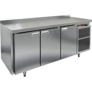 Стол морозильный, GN2/3, L1.84м, борт H50мм, 3 двери глухие, ножки, -10/-18С, нерж.сталь, дин.охл., агрегат справа