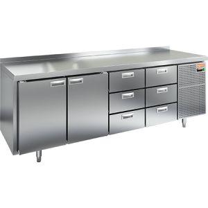 Стол холодильный, GN1/1, L2.28м, борт H50мм,  2 двери глухие+6 ящиков, ножки, -2/+10С, нерж.сталь, дин.охл., агрегат справа