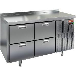 Стол холодильный, GN2/3, L1.39м, борт H50мм, 4 ящика, ножки, -2/+10С, нерж.сталь, дин.охл., агрегат справа