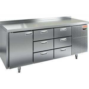 Стол холодильный, GN2/3, L1.84м, борт H50мм, 1 дверь глухая+6 ящиков, ножки, -2/+10С, нерж.сталь, дин.охл., агрегат справа