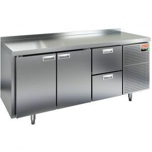 Стол холодильный, GN2/3, L1.84м, борт H50мм, 2 двери глухие+2 ящика, ножки, -2/+10С, нерж.сталь, дин.охл., агрегат справа