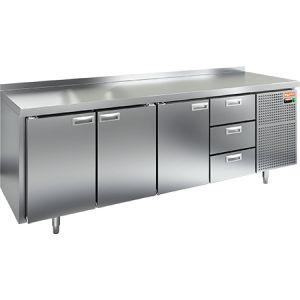 Стол холодильный, GN2/3, L2.28м, борт H50мм,  3 двери глухие+3 ящика, ножки, -2/+10С, нерж.сталь, дин.охл., агрегат справа