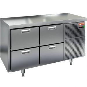 Стол холодильный, GN1/1, L1.39м, без борта, 4 ящика, ножки, -2/+10С, нерж.сталь, дин.охл., агрегат справа
