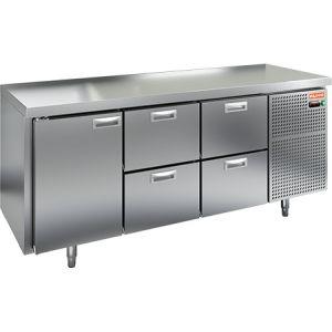 Стол холодильный, GN1/1, L1.84м, без борта, 1 дверь глухая+4 ящика, ножки, -2/+10С, нерж.сталь, дин.охл., агрегат справа