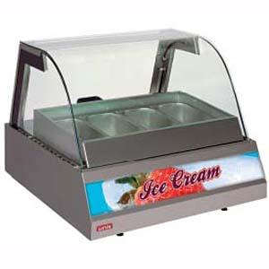 Витрина морозильная настольная, горизонтальная, для мороженого, L0.75м, 4GN1/2, -14/-16С, дин.охл., нерж.сталь, стекло фронтальное гнутое