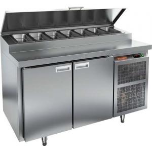 Стол холодильный для пиццы, GN1/1, L1.39м, 2 двери глухие, ножки, +2/+10С, нерж.сталь, дин.охл., агрегат справа, короб 7GN1/3