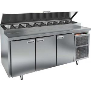 Стол холодильный для пиццы, GN1/1, L1.84м, 3 двери глухие, ножки, +2/+10С, нерж.сталь, дин.охл., агрегат справа, короб 11GN1/6