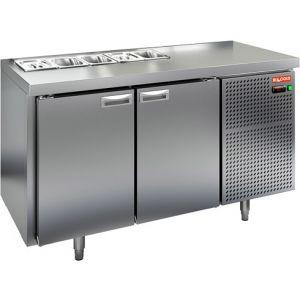 Стол холодильный саладетта, GN1/1, L1.39м, без борта, 2 двери глухие, ножки, +2/+10С, нерж.сталь, дин.охл., агрегат справа, 5GN1/6, без крышки