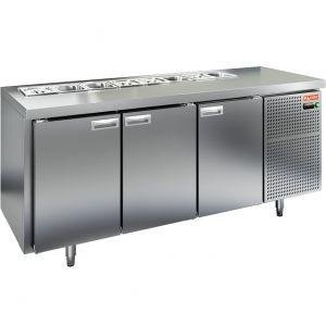 Стол холодильный саладетта, GN1/1, L1.84м, без борта, 3 двери глухие, ножки, +2/+10С, нерж.сталь, дин.охл., агрегат справа, GN1/3, без крышки