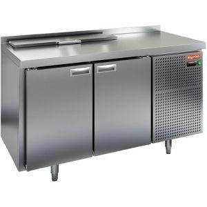 Стол холодильный саладетта, GN1/1, L1.39м, борт H50мм, 2 двери глухие, ножки, +2/+10С, нерж.сталь, дин.охл., агрегат справа, GN1/3, крышка